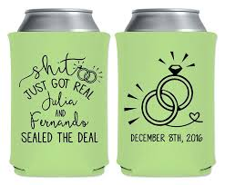 personalized wedding koozies drink koozies wedding favors fisherman wedding custom favors
