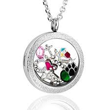 floating locket necklace chains images Zysta 25mm 316 stainless steel silver matte round jpg