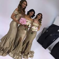 gold bridesmaid dress special gold bridesmaid dress shoulder sleeves sequins