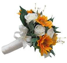 bouquet of sunflowers bridesmaids artificial wedding bouquet with sunflowers and roses