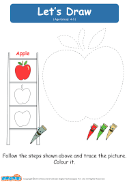 lets draw an apple drawing worksheets for kids mocomi