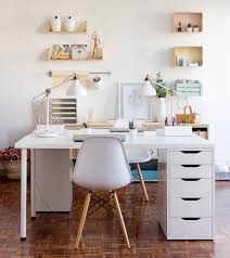 Modern White Office Table White Contemporary Home Office Design With Ikea Desk Chair And