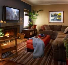 brown varnished wooden table glass jar cozy living room decorating