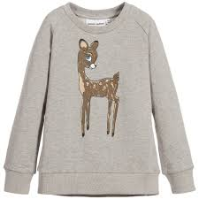 mini rodini grey u0027roe deer u0027 print organic cotton sweatshirt