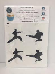 karate cake topper 12 x novelty karate taekwondo martial arts silhouette mix edible