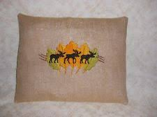 Burlap Decorative Pillows Moose Pillow Ebay