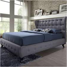 queen size grey button tufted upholstered platform bed with