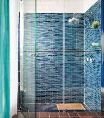 Blue Glass Tile Bathroom - oceanside glass tile for a beach style bathroom with a blue glass