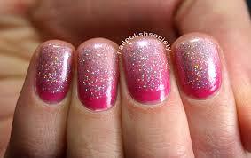 nail polish society pink gradient and holo glitter ruffian