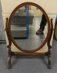 vintage wooden free standing oval shabby chic dressing table