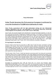 volvo sa head office volvo trucks india 10000 deliveries press release