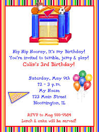 sports bounce house birthday party invitations
