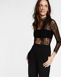 express black jumpsuit mock neck lace jumpsuit express