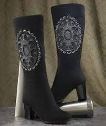 womens boots size 11w womens midnight velvet black appliqued boots size 11w 11 w ebay