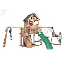 Backyard Discovery Winchester Playhouse Backyard Discovery Oceanview All Cedar Swing Set U0026 Reviews Wayfair