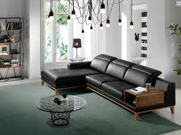 canape angle gauche cuir canapé angle gauche cuir noir et structure bois plaqué noyer mosta
