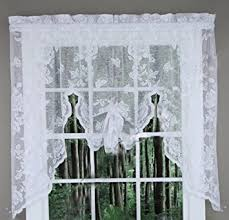 White Lace Window Valances Amazon Com Abbey Rose Floral Lace Curtain White Swag Valance