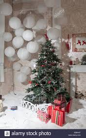 new year tree in the room with a big balls stock photo royalty