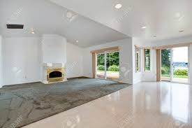 Fireplace Floor Plan House Open Floor Plan Bright Empty Living Room With Fireplace
