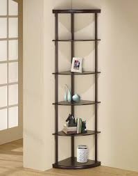 Corner Wall Bookcase Furniture Black Wooden Bathroom Corner Wall Shelves With Five