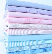 Baby Nursery Fabric Pastel Baby Pink Blue Lilac Dot Gingham Abc Stripe Poly Cotton