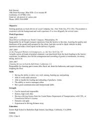resume for driver position resume for your job application