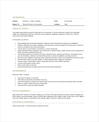 Industrial Electrician Resume Sample by Electrician Job Description 9 Free Pdf Word Dowload Documents