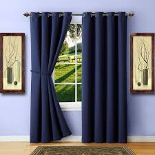 warm home designs navy blackout curtains valance scarves tie