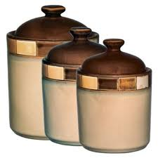 pottery kitchen canisters gibson casa estebana 3 pc brown and beige ceramic kitchen canister