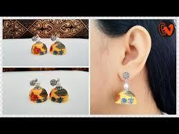 decoupage earrings quilled decoupage jhumka tutorial decoupage earrings 1