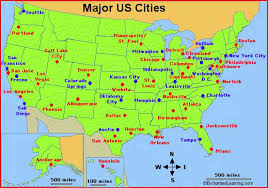 map of america showing states and cities map of us states cities
