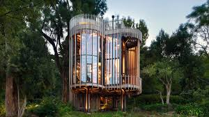 file tree house jpg cylindrical treehouse on stilts rises in cape town curbed