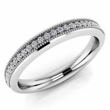 wedding ring white gold diamond wedding band anniversary bridal ring with milgrain