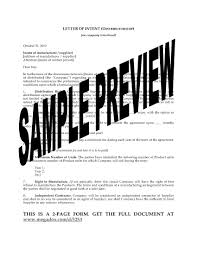 Letter To Intent Sample by Letter Of Intent For Exclusive Distributor Legal Forms And