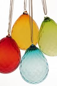 blown glass egg ornaments on orbix glass