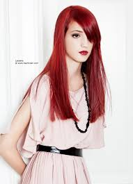 extremely straight long red hair with a blunt cutting line