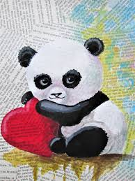 panda bear art teddy bear art baby panda love original panda