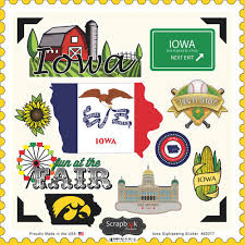 Iowa Travel Stickers images Scrapbook customs state sightseeing collection 12 x 12 jpg