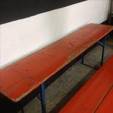 german beer garden table and bench orange german beer garden table benches chairish