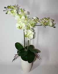orchid flower arrangements artificial silk white green orchid flower arrangement with leaves