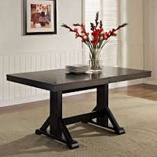 Solid Wood Dining Room Tables Walker Edison Black 6 Piece Solid Wood Dining Set With Bench