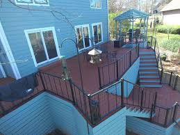 lake murray wooden deck with vertical cable railing custom decks