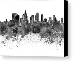 los angeles skyline in black watercolor on white background canvas