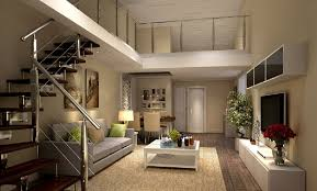 trendy home with super unique staircase in living room image