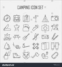 Map Compass Camping Icons Backpack Axe Hiking Boots Stock Vector 424786327