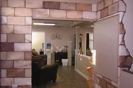 painted concrete block wall viewing gallery basement block wall