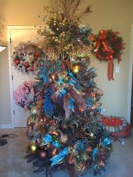 blue and copper peacock christmas tree trendy tree blog holiday