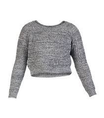 essentials marled yarn cropped sweater black jimmy jazz 05068