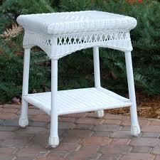 White Wicker Patio Furniture Tortuga Outdoor Portside Wicker Side Table Wicker Com