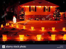 christmas lights home decoration luminaries new mexico usa